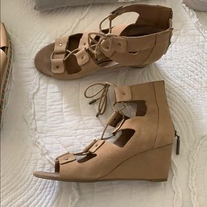 Lace up Suede Wedges